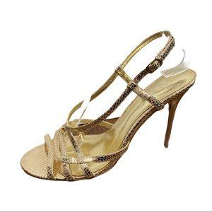Aldo Gold Leather Snakeskin Stilettos 39 8.5